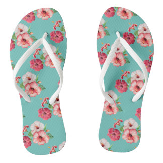 Tropical summer flowers flip flops