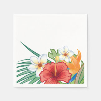 Tropical Summer Hibiscus and Plumeria personalized Disposable Napkin