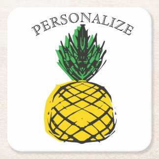 TROPICAL SUMMER ISLAND PINEAPPLE SQUARE PAPER COASTER