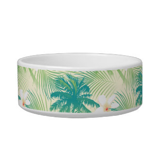 Tropical summer palm trees pet water bowl