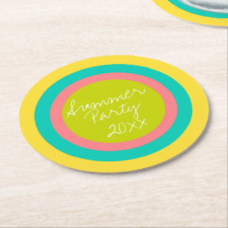 Tropical Summer Party Circles Personalized Round Paper Coaster