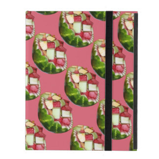 Tropical Summer Picnic Fruit Salad Pink Pattern iPad Folio Cases