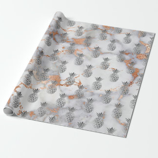 Tropical summer pineapple fruit gray copper marble wrapping paper