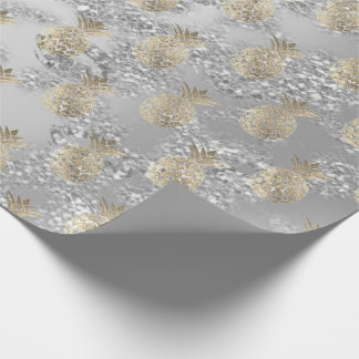 Tropical summer pineapple gray fruit silver lux wrapping paper