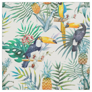 Tropical summer Pineapple Parrot Bird watercolor Fabric