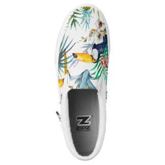Tropical summer Pineapple Parrot Bird watercolor Slip On Shoes