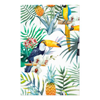 Tropical summer Pineapple Parrot Bird watercolor Stationery