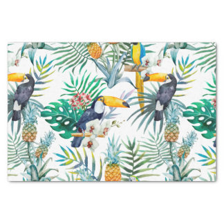 Tropical summer Pineapple Parrot Bird watercolor Tissue Paper