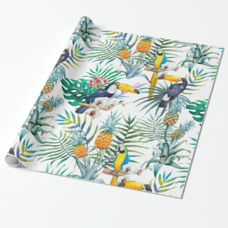 Tropical summer Pineapple Parrot Bird watercolor Wrapping Paper