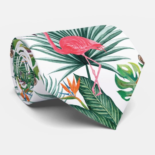 Tropical summer Pink Flamingo + Zebra watercolor Tie