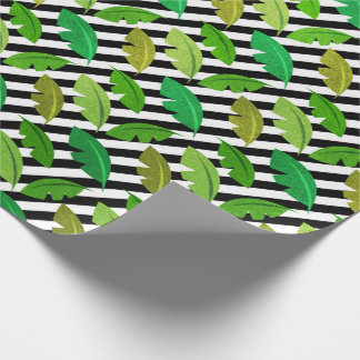 Tropical summer stripes black white banana leaf wrapping paper