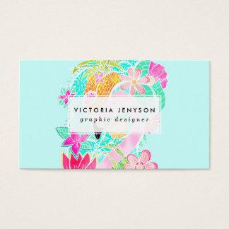 Tropical summer watercolor flamingo pineapple business card