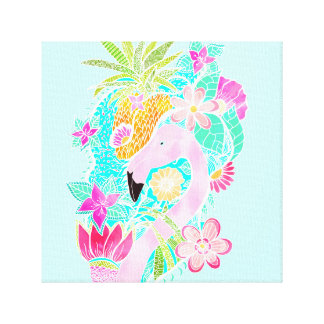 Tropical summer watercolor flamingo pineapple canvas print