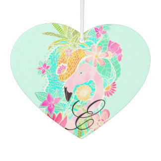 Tropical summer watercolor flamingo pineapple car air freshener