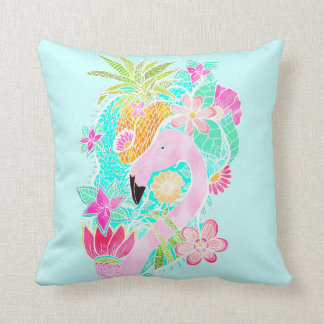 Tropical summer watercolor flamingo pineapple cushion
