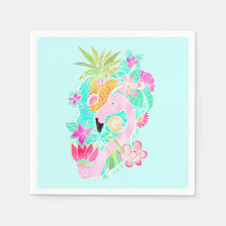 Tropical summer watercolor flamingo pineapple disposable napkin