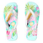 Tropical summer watercolor flamingo pineapple flip flops