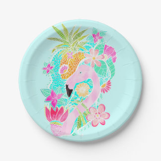 Tropical summer watercolor flamingo pineapple paper plate