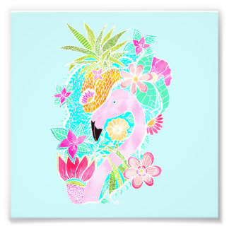 Tropical summer watercolor flamingo pineapple photo print