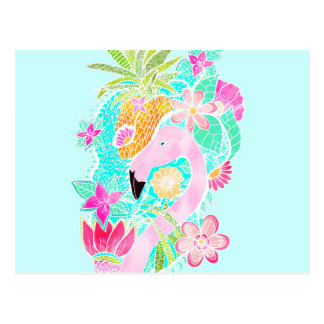 Tropical summer watercolor flamingo pineapple postcard