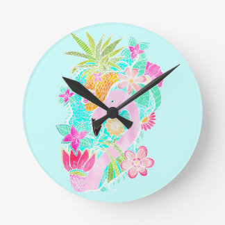 Tropical summer watercolor flamingo pineapple round clock