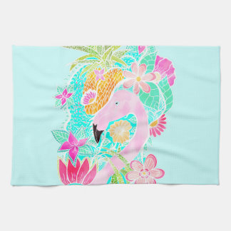 Tropical summer watercolor flamingo pineapple tea towel