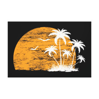 Tropical sun palm trees & birds canvas print