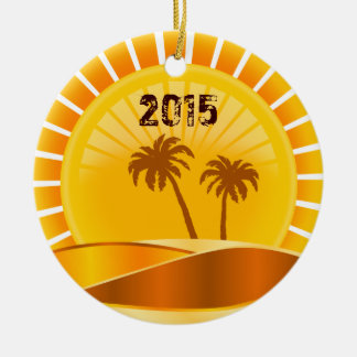Tropical Sunburst Beach Personalized Ornament