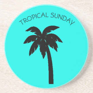 TROPICAL SUNDAY PALM TREE SOAPSTONE COASTER