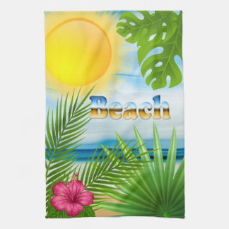 Tropical Sunrise Beach Paradise Tea Towel