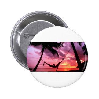 Tropical Sunrise In A Hammock 6 Cm Round Badge