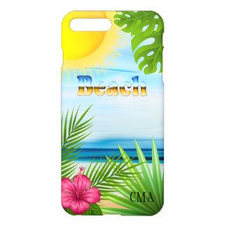 Tropical Sunrise on the Beach   Monogram iPhone 7 Plus Case
