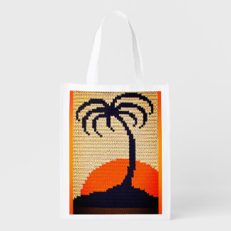 Tropical Sunrise Palm Tree Crochet Print on Fabric