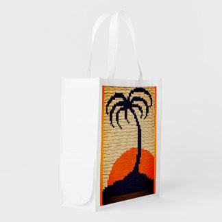 Tropical Sunrise Palm Tree Crochet Print on Fabric Reusable Grocery Bag