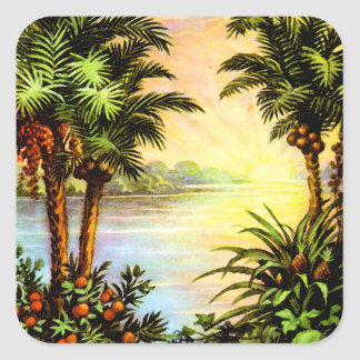 Tropical Sunrise Square Sticker