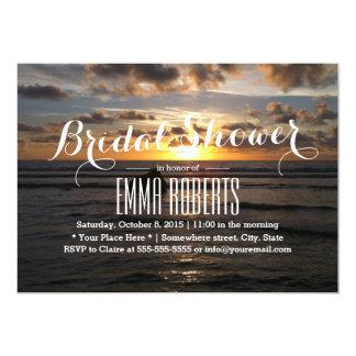 Tropical Sunset Beach Bridal Shower 5x7 Paper Invitation Card