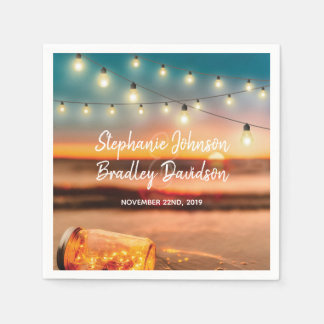 Tropical Sunset Beach Mason Jar Lights Wedding Paper Serviettes