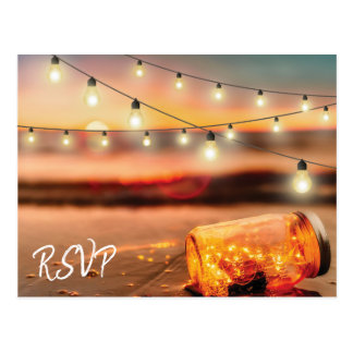 Tropical Sunset Beach Mason Jar Wedding Response Postcard