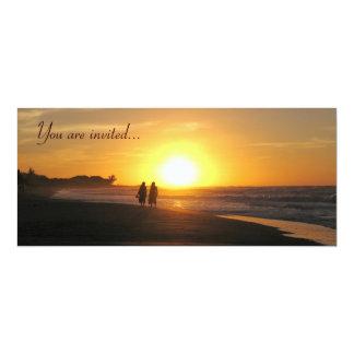 Tropical sunset beach wedding invitation template