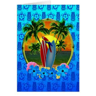 Tropical Sunset Blue Tiki Card