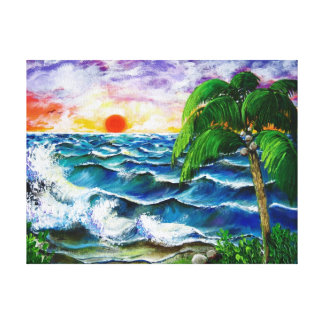 Tropical Sunset Stretched Canvas Print