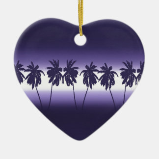 Tropical sunset ceramic heart decoration
