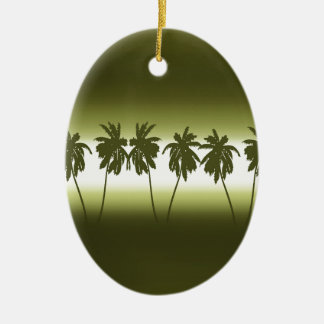 Tropical sunset ceramic oval decoration