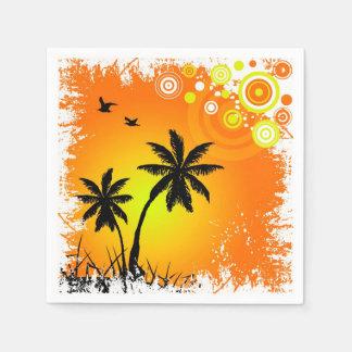Tropical sunset disposable napkin