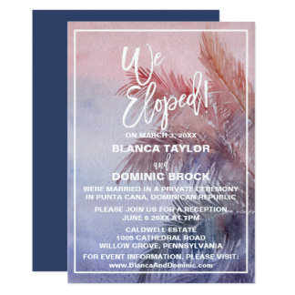 Tropical Sunset Elopement Reception Card