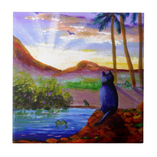 Tropical Sunset Funny Cat Frog Creationarts Tile