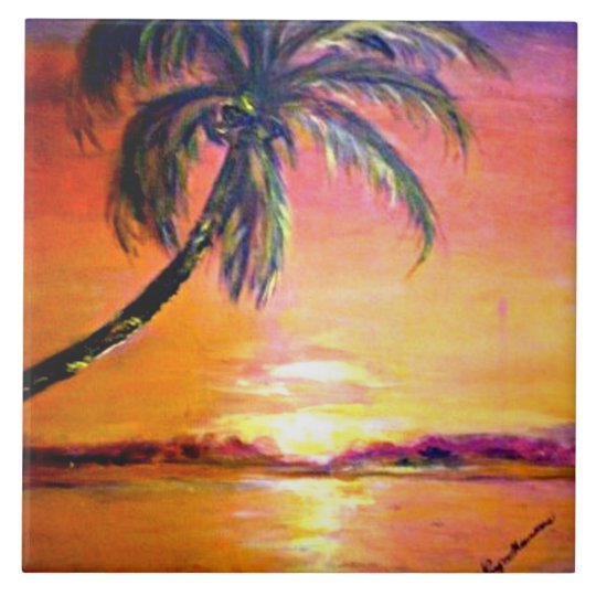 Tropical Sunset Large Square Tile