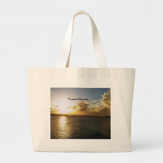 Tropical sunset large tote bag