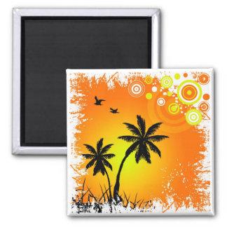 Tropical sunset fridge magnet