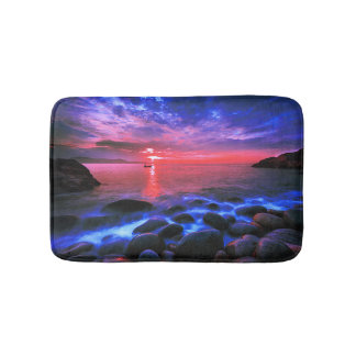 Tropical Sunset On Rocky Coast Bath Mat